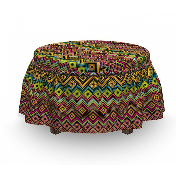 Home & Outdoor Mexican Zigzag Motif Ottoman Slipcover (Set Of 2)