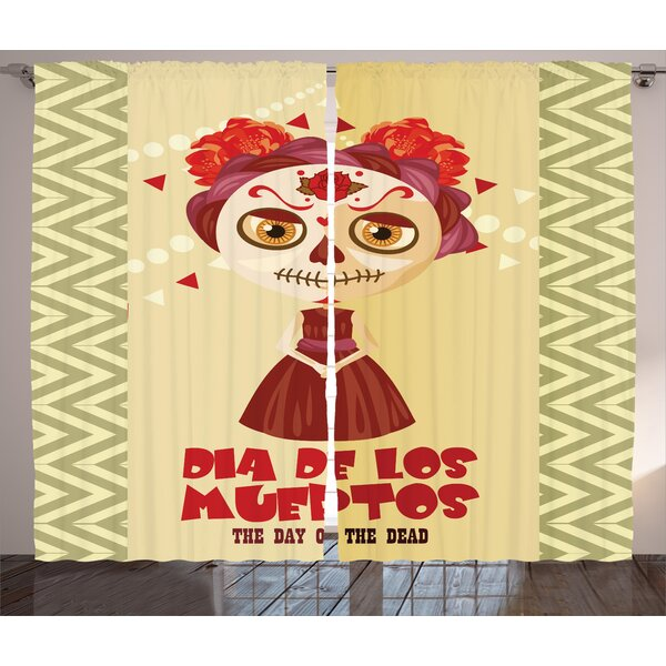Bowers Day of The Dead Graphic Print and Text Semi-Sheer Rod Pocket Curtain Panels (Set of 2) by Latitude Run