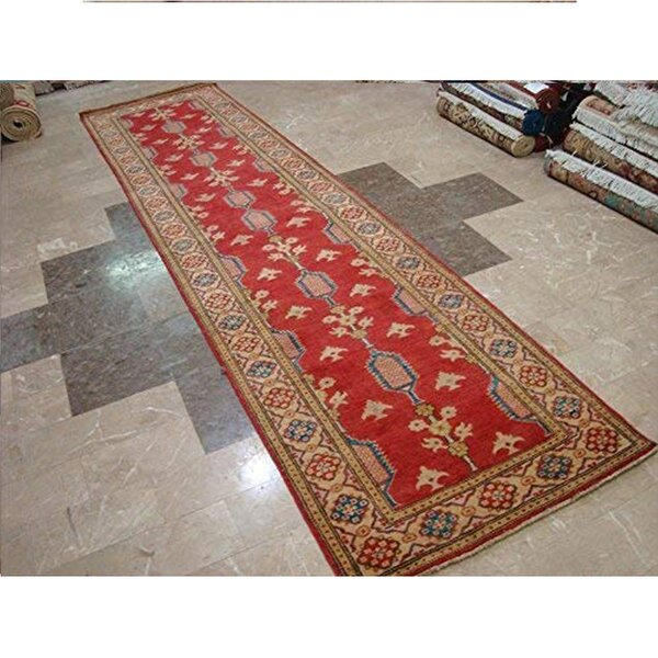 Hand-Knotted Wool Red/Beige Rug