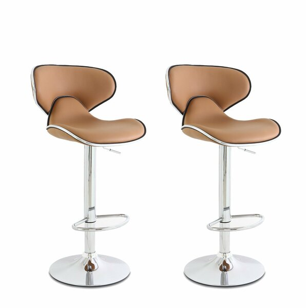 Low Back Adjustable Height Swivel Bar Stool (Set of 2) by Wade Logan