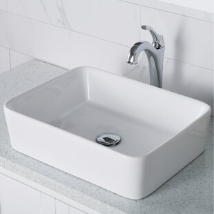 Compare Elavo Ceramic Square Vessel Bathroom Sink with Faucet By Kraus