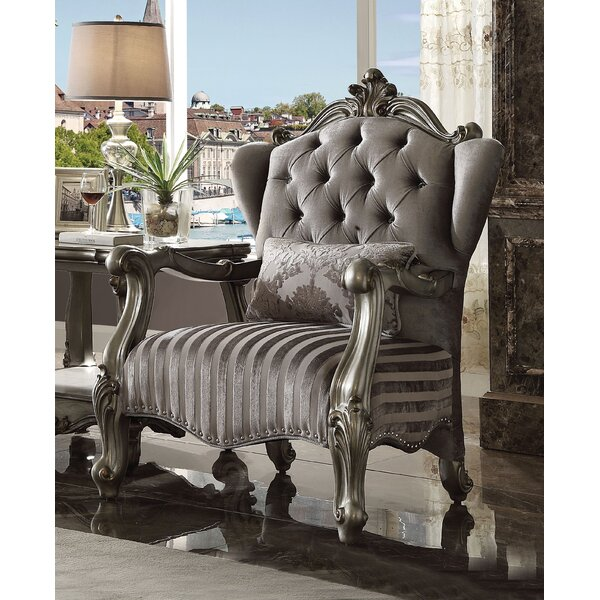 Sherrill Luxurious Velvet Wingback Chair with Pillow by Rosdorf Park