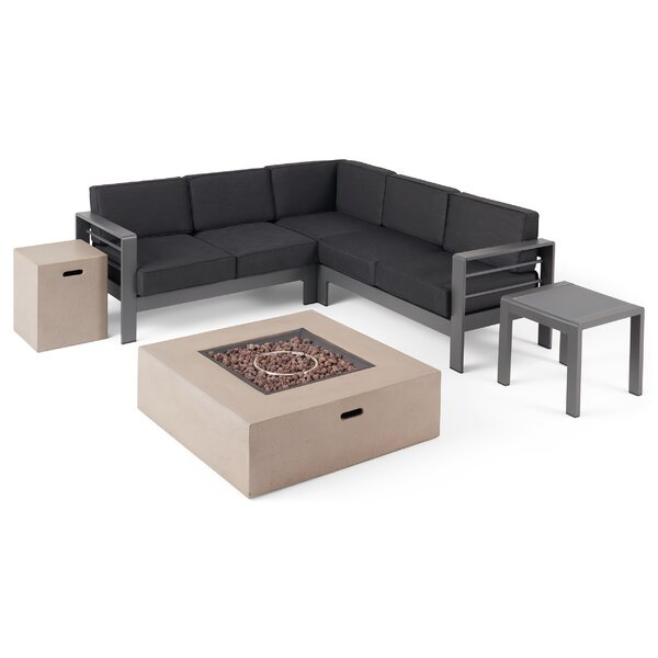 1 Eaker Outdoor 5 Piece Sectional Seating Group with Cushions by Orren Ellis