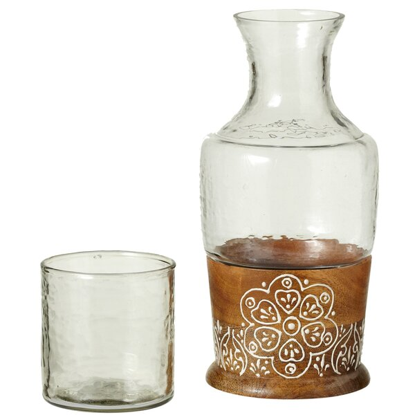 Duval Handpainted Floral 2 Piece Carafe Set by Bungalow Rose