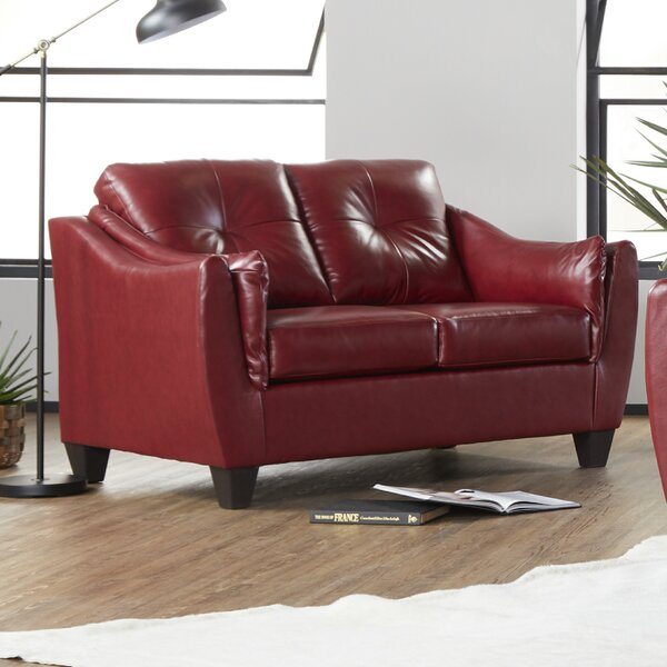 Best Reviews Maney Leather Loveseat by Ebern Designs