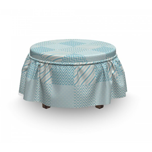 Polka Dots Lines Ottoman Slipcover (Set Of 2) By East Urban Home