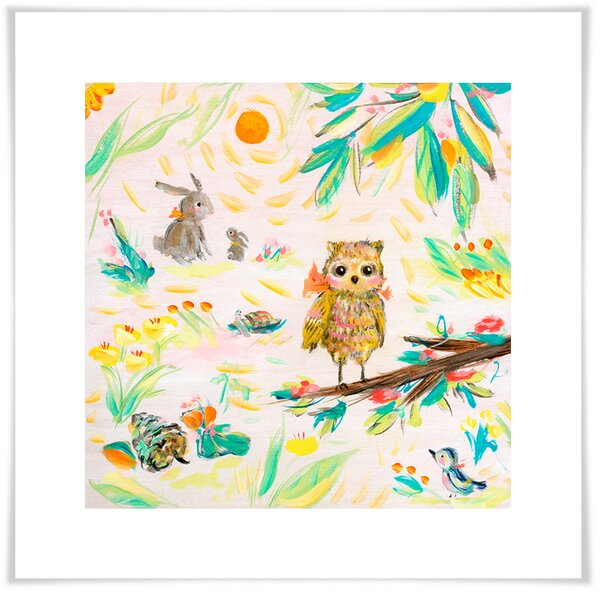 Ardilla Owl, Buns and Bird Paper Print by Harriet Bee