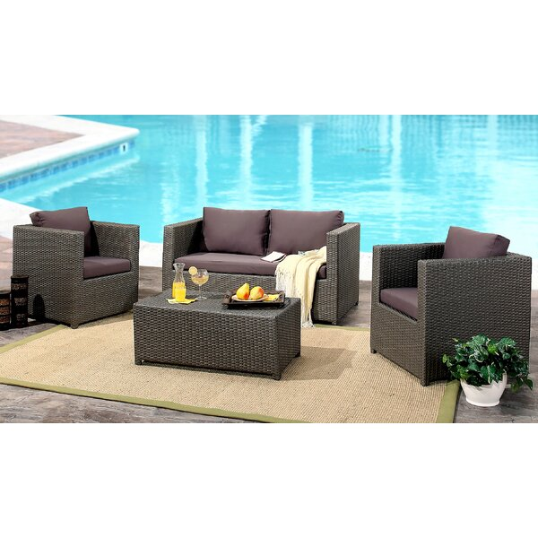 Leithgow 4 Piece Rattan Sofa Seating Group with Cushions by Latitude Run