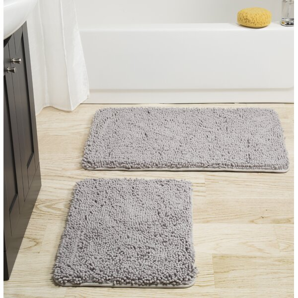 2 Piece Memory Foam Shag Bath Rug Set by Plymouth Home