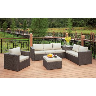 Hague 5 Piece Rattan Sofa Set with Cushions By Longshore Tides