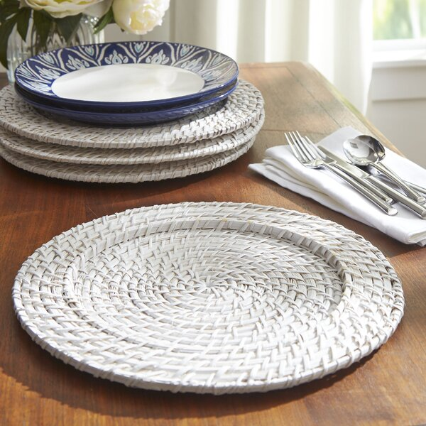 Rattan 13 Charger in White by Birch Lane™