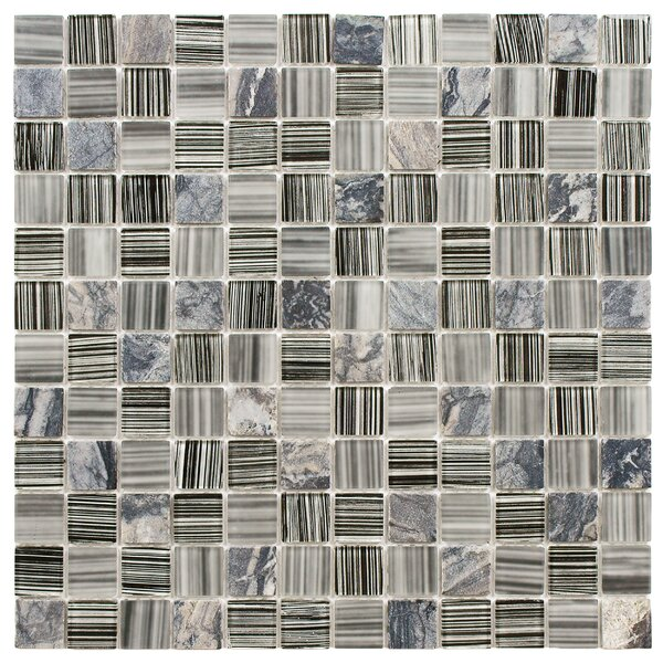 Chroma 0.88 x 0.88 Glass and Natural Stone Mosaic Tile in Black/Gray by EliteTile