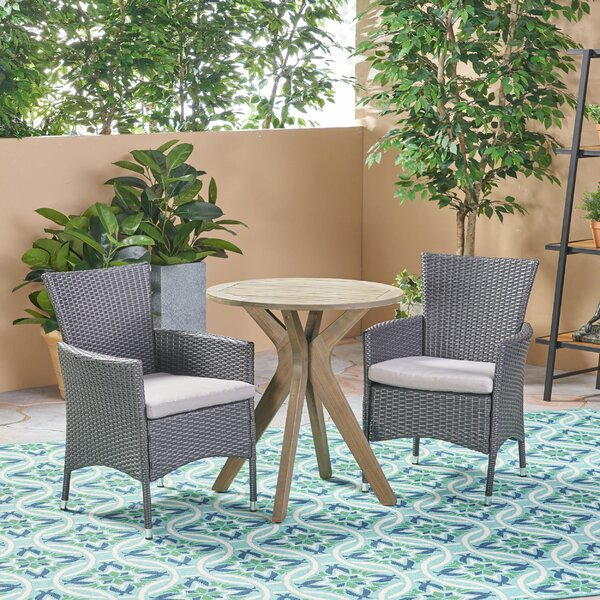 Lafrance Outdoor 3 Piece Bistro Set With Cushions By George Oliver