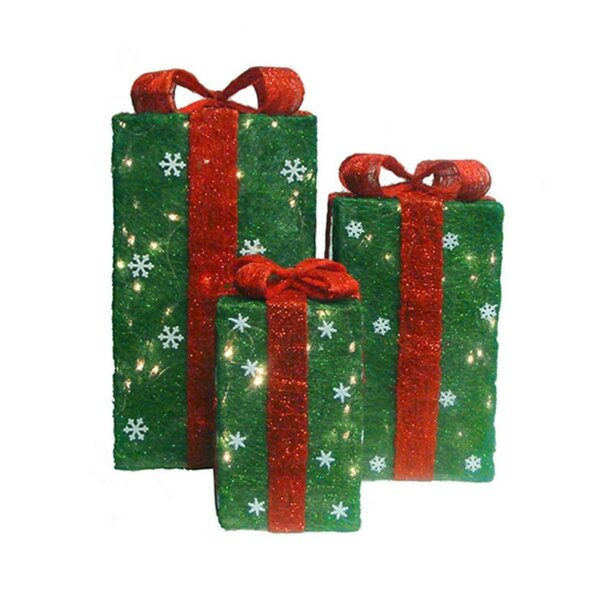 3 Piece Sisal Gift Boxes Christmas Yard Art Lighted Display Set by The Holiday Aisle