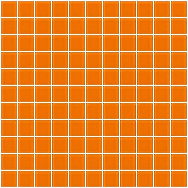 1 x 1 Glass Mosaic Tile in Glossy Orange by Susan Jablon