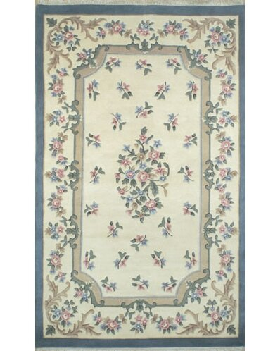 French Country Aubusson Ivory/Blue Area Rug by American Home Rug Co.