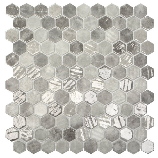 Onix 1 x 1 Glass Mosaic Tile in Gray/Silver by Madrid Ceramics