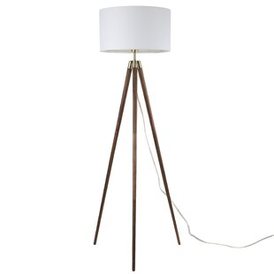 Wood floor lamps youll love wayfair kaleb 1 light tripod floor lamp aloadofball Choice Image
