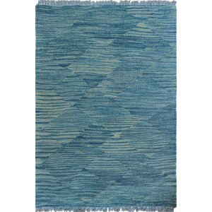 Ackworth Traditional Kilim Hand Woven Wool Blue Area Rug