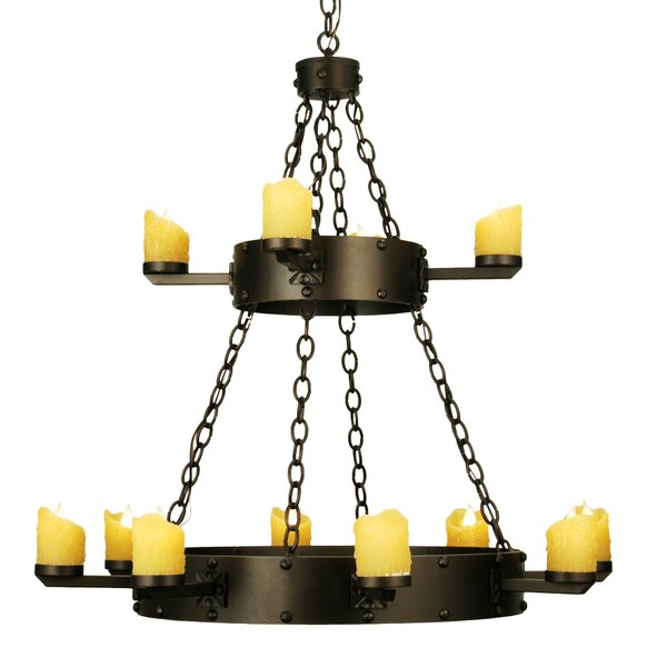 Keiko 12 - Light Candle Style Wagon Wheel Chandelier with Accents by Bungalow Rose Bungalow Rose