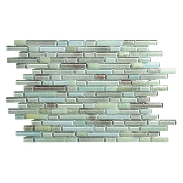 Hi-Fi Offset Linear Random Sized Glass Mosaic Tile in Blue/Green/Gray by Kellani