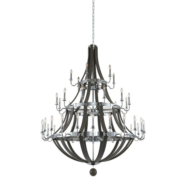 Crary 42-Light Candle Style Empire Chandelier With Wood Accents By Gracie Oaks