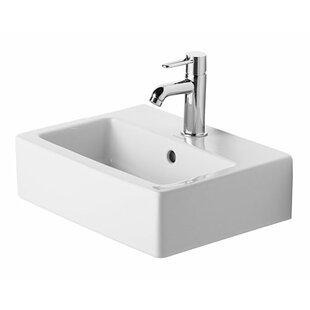 Find Vero Ceramic Rectangular Wall Mount Bathroom Sink with Overflow By Duravit