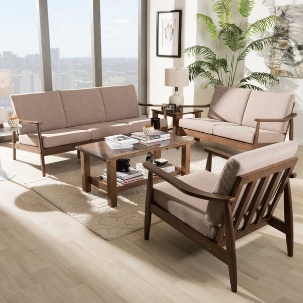 Leaman Mid-Century Modern 3 Piece Living Room Set by Millwood Pines