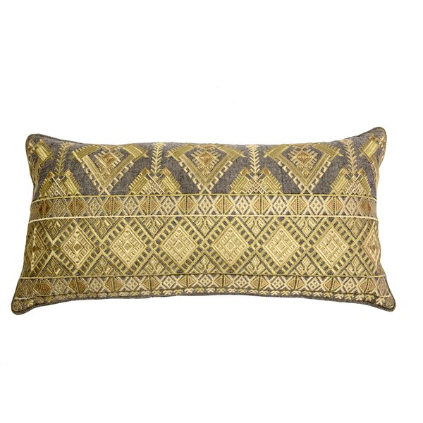 Outten Diamond Geo Embroidery Linen Pillow Cover by Bloomsbury Market