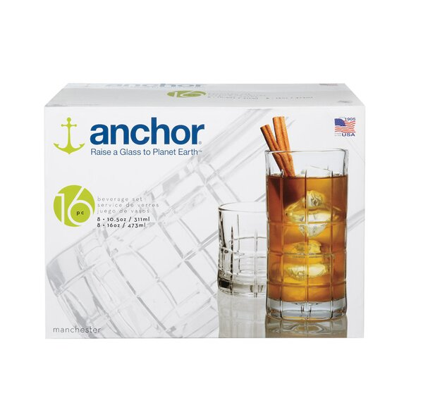 16 Piece Glass Assorted Glassware Set by Anchor Hocking