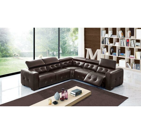Bulkley Symmetrical Leather Reclining Sectional By Orren Ellis