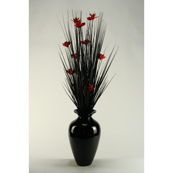 Black Ting with Red Blossoms in Black Spun Bamboo Vase by D & W Silks