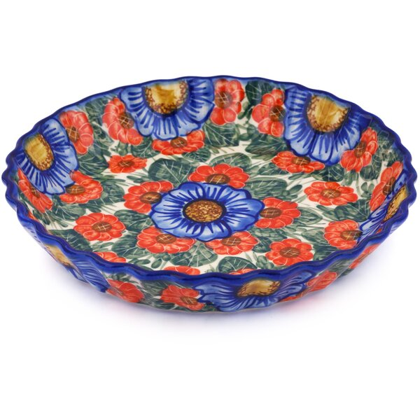 Polish Pottery Fluted Pie Dish by Polmedia