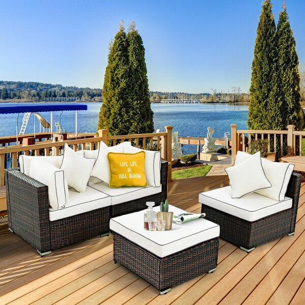 Sandburg 4 Piece Rattan Sofa Seating Group with Cushions by Breakwater Bay