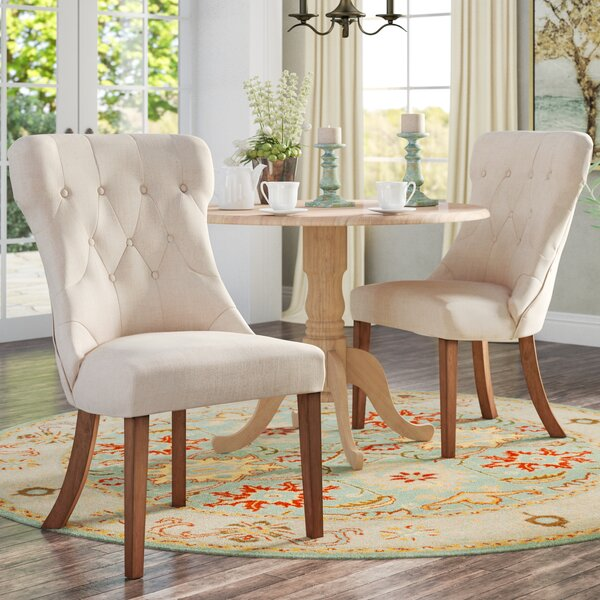 Tamarack Linen Tufted Upholstered Dining Chair (Set of 2) by Three Posts