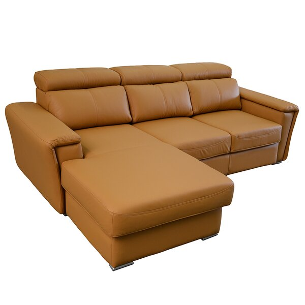 Dotan Leather Sleeper Sectional by Orren Ellis