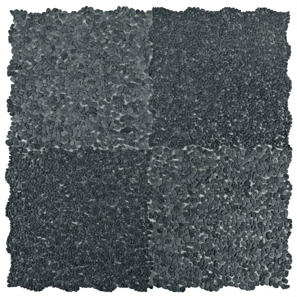 Kamyk Mini 12.25 x 12.25 Pebble Stone Mosaic Tile in Dark Gray by EliteTile