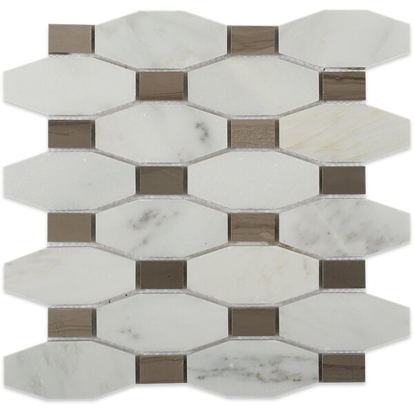 Diapson Oriental Dot Polished Random Sized Marble Mosaic Tile in Athens Gray by Splashback Tile