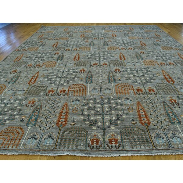 One-of-a-Kind Beaumont Willow Cypress Tree Design Handwoven Grey Wool Area Rug by Isabelline
