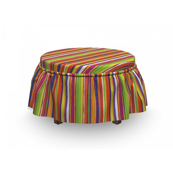 Barcode Lines Ottoman Slipcover (Set Of 2) By East Urban Home