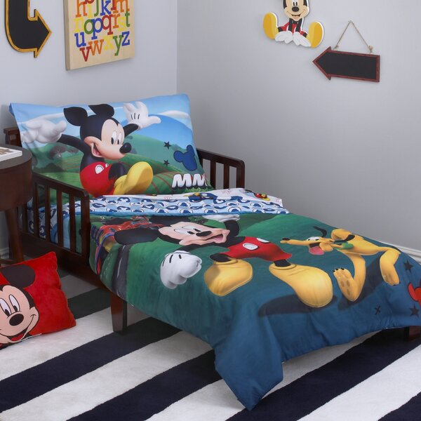 Mickey Mouse Playhouse 4 Piece Toddler Bedding Set by Disney