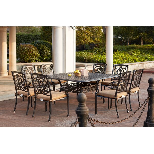 Batista 9 Piece Square Dining Set with Cushions by Fleur De Lis Living