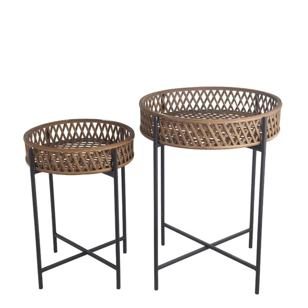 Kreger 2 Piece Metal Side Table Set by Highland Dunes