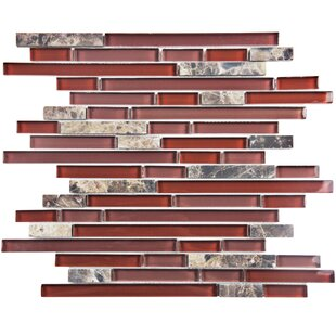 Sierra Random Sized Gl And Natural Stone Mosaic Tile In Bordeaux