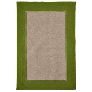 Elam Border Hand-Woven Green/Beige Indoor/Outdoor Area Rug byBreakwater Bay