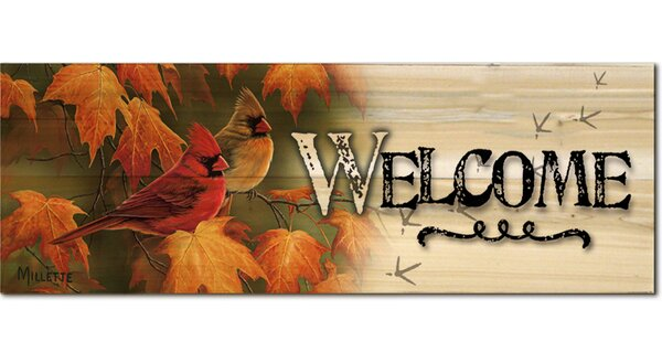 Welcome Maple Leaves and Cardinals by Rosemary Millette Graphic Plaque by WGI-GALLERY