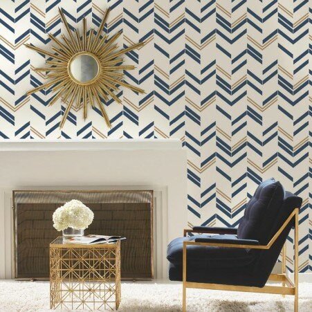Runge 16 5 L X 20 W Chevron And Herringbone Stick Wallpaper Roll
