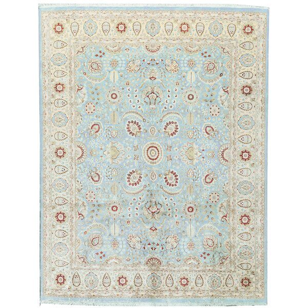 One-of-a-Kind Hand-Knotted Wool Teal/Ivory Area Rug by Bokara Rug Co., Inc.