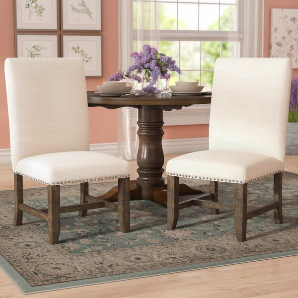 Melstone Linen Upholstered Parsons Chair in Dark Taupe (Set of 2) by Three Posts Three Posts
