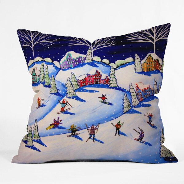 Renie Brirwnbucher Winter Skiing Fun Throw Pillow by Deny Designs